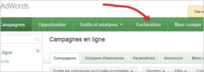 google adwords facturation